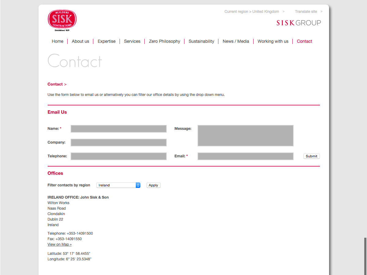 John Sisk and Son - Contact form