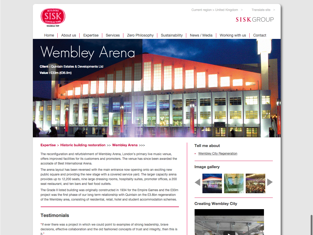 John Sisk and Son - Project - Wembley Arena