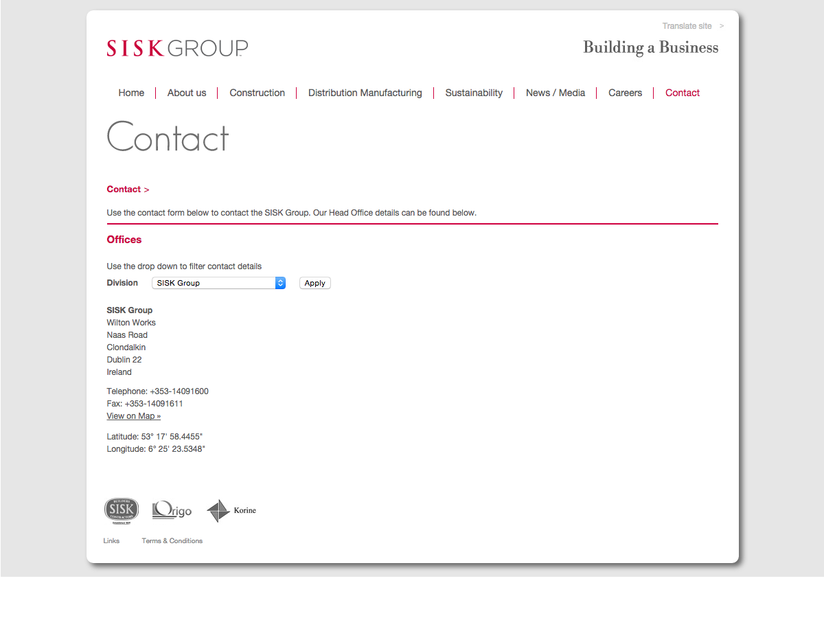 Sisk Group - Contact