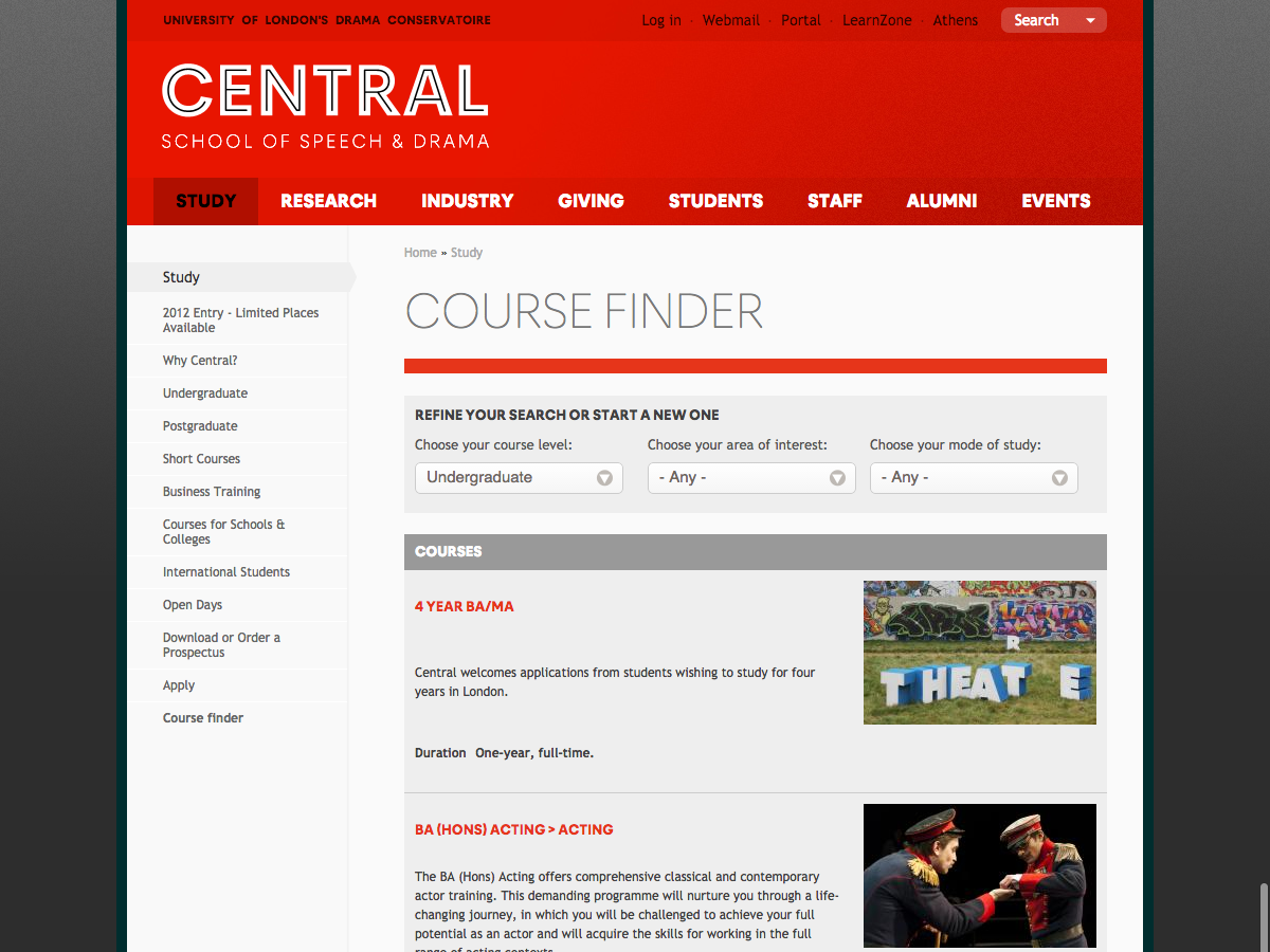 Central School of Speech and Drama - Course finder