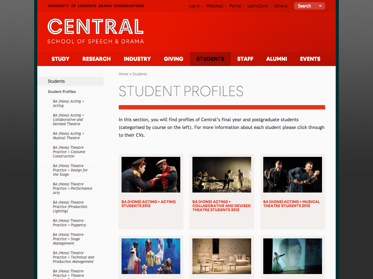 Central School of Speech and Drama - Student Profiles