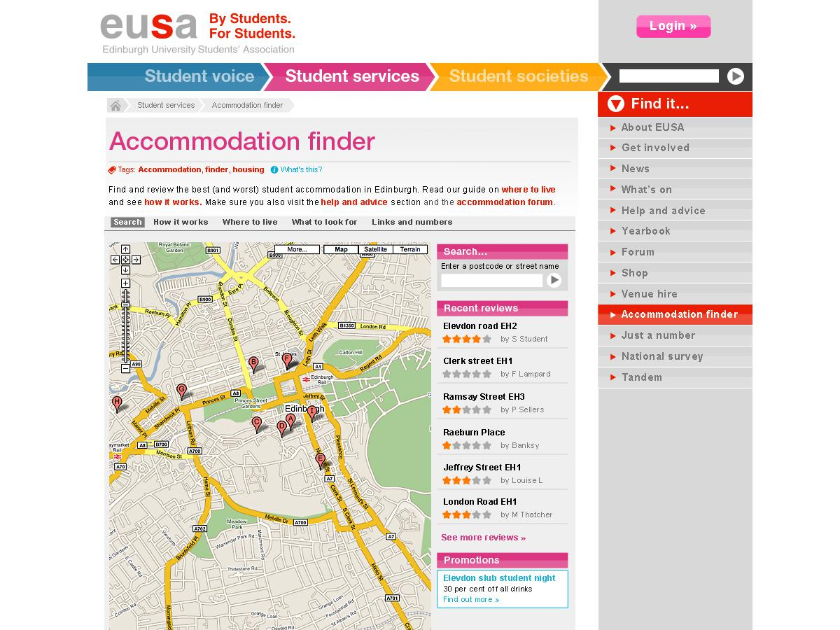 Edinburgh University Students Association - Accomodation finder