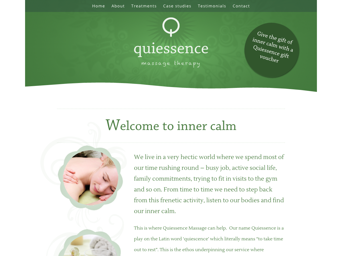 Quiessence massage therapy home page