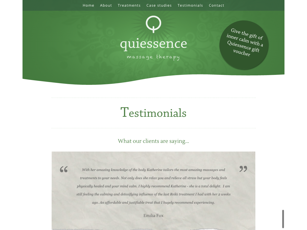 Quiessence Massage - Testimonials