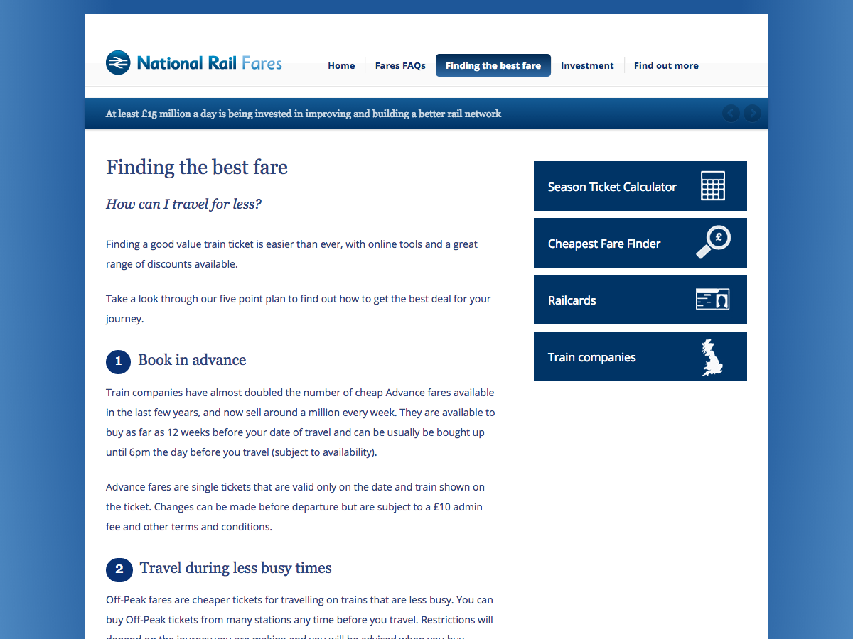 Rail Fares 2014 - Finding the best rail fare
