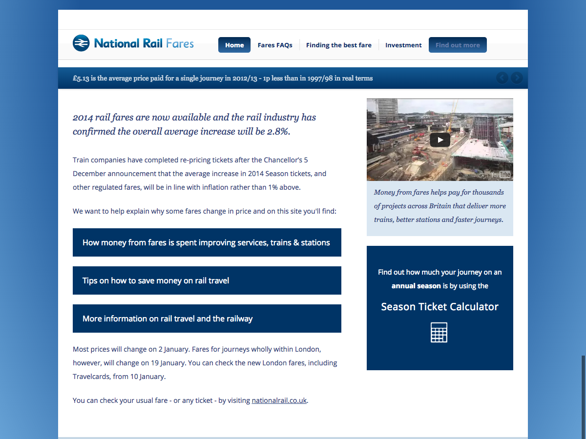Home Page - National Rail Fares 2014