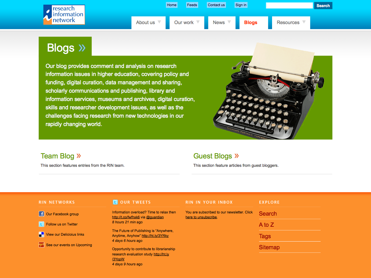 Research Information Network - Blogs